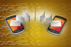 E-mail sharing between smart phone Stock Image