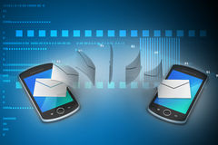 E-mail sharing between smart phone Royalty Free Stock Photo