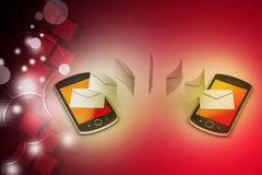 E-mail sharing between smart phone. In color background Royalty Free Stock Photography