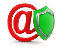 E-mail and Shield (clipping path included) Royalty Free Stock Photos