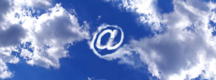 E mail sign. E mail cloud sign on the sky, computer generated vector illustration