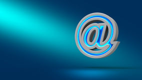 E-mail sign. E-mail on blue background. 3d illustration. Set for design presentations Royalty Free Stock Photography