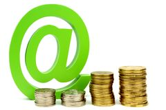 E-mail sign and coins Stock Photography