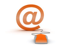 E-mail sign and computer mouse Royalty Free Stock Images