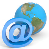 E-mail sign and globe earth. Stock Photos