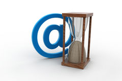 E-mail sign and hour glass Royalty Free Stock Photos