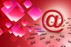 E-mail sign with  mouse pointer Stock Photos