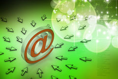 E-mail sign with  mouse pointer Royalty Free Stock Photos