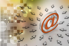 E-mail sign with  mouse pointer Stock Photo