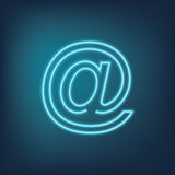 E-mail at sign - neon symbol Stock Image