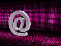 E-mail @ sign on pixel graphic background Stock Photo