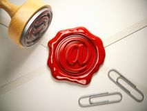 E-mail sign sealing wax stamp.  Internet communication concept. Royalty Free Stock Images