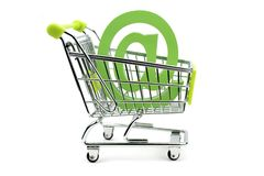 E-mail sign in shopping cart Stock Photography
