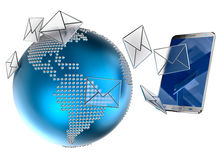E-mail or sms sent to the mobile phone Stock Photos