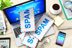E-mail and spam concept. Creative abstract e-mail, spam and junk mail internet web concept: 3D render illustration of the top view of heap of letters in Royalty Free Stock Photos