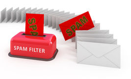 E-mail spam filter. 3d concept isolated on white Royalty Free Stock Photo