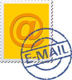 E-Mail-Stamp. Poststamp with E-Mail symbol and stamp Stock Photos
