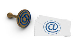 E-mail stamp and letters. Royalty Free Stock Image