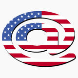 E-mail symbol with American flag Stock Photography