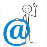E-mail symbol Attention. Illlustration in ink style showing a person drawing attention having an important message to communicate to the visitor Stock Photos