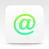 E-Mail-Symbol auf weißer Textbox Stockfotografie