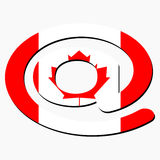 E-mail symbol with Canadian flag Stock Photo
