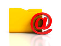 E-mail AT symbol with document folder Royalty Free Stock Photos