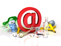 E-mail symbol in garbadge of spam. conceptual Internet illustration Royalty Free Stock Photography