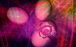 E-mail symbol inside egg. Digital illustration of Royalty Free Stock Photo