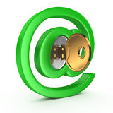 E-mail symbol with key Royalty Free Stock Photography