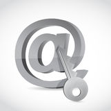 E-mail symbol with key. Internet security concept. Royalty Free Stock Photography