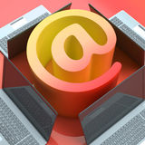 E-mail Symbol Laptops Shows Online Mailing Communication Stock Photo