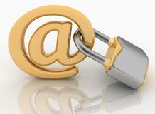 E-mail symbol with lock Royalty Free Stock Photos