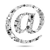 E-mail symbol made of Web icon Stock Images