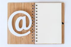 E-mail symbol on a notebook. stock photography