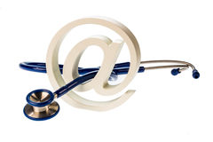 E-mail symbol and stethoscope Stock Images