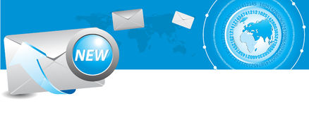 E-mail symbol and world map. Electronic mail and the blue arrows symbol Stock Images
