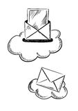 E-mail symbols with letters and clouds Stock Photo