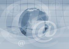 E-mail symbool en aarde Stock Afbeelding