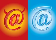 E-mail symbool - Slecht versus Goed stock illustratie