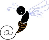 E-mail to... Bee. A bee writing @ Vectorial icon for e-mail stock illustration