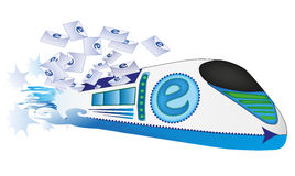 E-mail Train. This is a concept representing the fast work of a e-mail Stock Photography