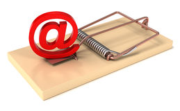E-mail trap. E-mail Symbol in Mousetrap. 3d high quality render Stock Photo
