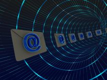 E-mail tube post. Electronic mail being sent by the tube post - a bunch of envelopes flying through a tube Royalty Free Stock Photo