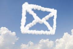 E-Mail-- und Postkonzepttext in den Wolken Lizenzfreies Stockbild