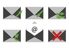 E-Mail-- und Telefonikonen Stockfoto