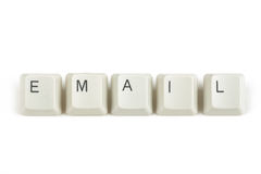 E-mail van verspreide toetsenbordsleutels op wit Royalty-vrije Stock Foto