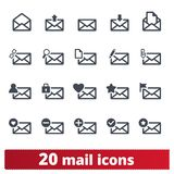 E-mail Vector Icons Set For Web And Mobile App royalty free illustration