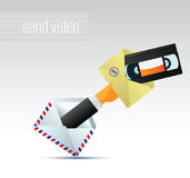E-mail with video. Man in suit holding a letter with the video files Royalty Free Stock Photo