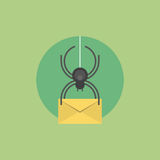 E-mail virus flat icon illustration Royalty Free Stock Photos